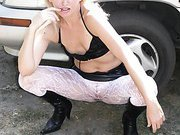 Blonde wife shows off her naked body outside and in car