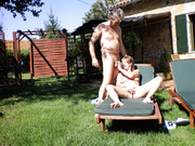 Mature wife sunbathing naked hubby sticks cock in mouth to suck
