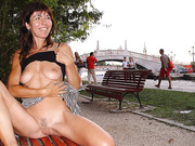 Exhibitionist hot milf flashing tits and pussy in public places to be seen
