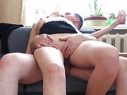 Hot fuck on the sofa wife having noisy orgasm
