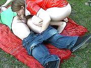 Chubby pale brunette pleasures her boyfriend outdoor